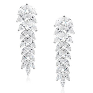 Journee Collection Brass Cubic Zirconia Leaf Dangle Earrings