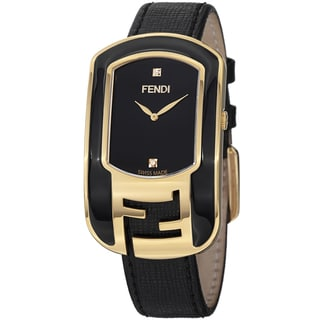 Fendi Women's F311431011D1 'Chameleon' Black Dial Leather Strap Goldtone Watch