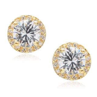 Journee Collection Brass Goldtone Cubic Zirconia Stud Earrings