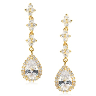 Journee Collection Brass Goldtone Cubic Zirconia Drop Earrings