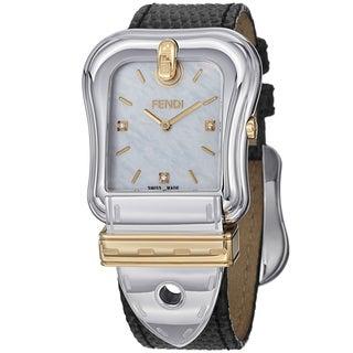 Fendi Women's F382114511D1 'B. Fendi' Mother of Pearl Dial Black Strap Two Tone Watch