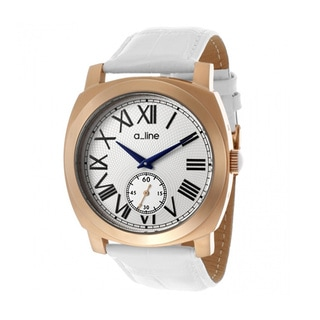A Line Women's Pyar White Leather Watch AL-80023-RG-02-WH