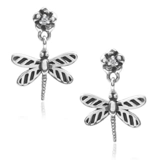 Journee Collection Sterling Silver Cubic Zirconia Dragonfly Earrings