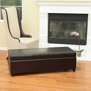 Christopher Knight Home Evan Bonded Leather Storage Ottoman