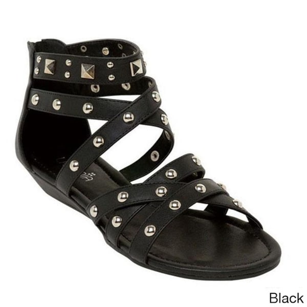 LASONIA S1292 Women's Studded Ankle Straps Sandals