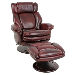 Lumina II Traverse Burgundy Leather Pedestal Recliner