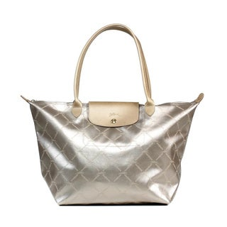 Longchamp LM Metal Large Shoulder Tote in Platinum