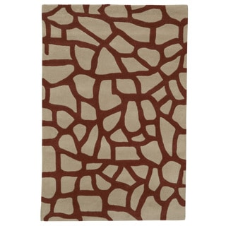 Somette Modern Highlights Cobble Stones Tan Area Rug (4' x 6')