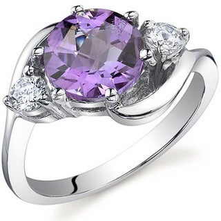Oravo Sterling Silver Gemstone and Cubic Zirconia Round-cut Ring