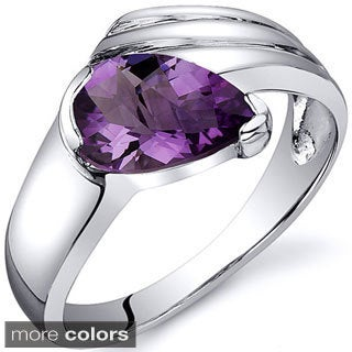 Oravo Sterling Silver Pear-cut Gemstone Ring