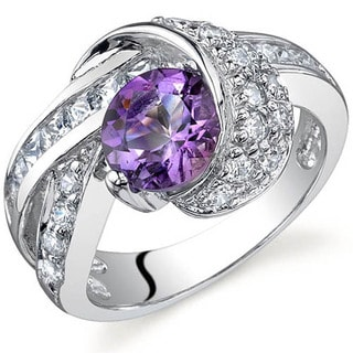 Oravo Sterling Silver Gemstone and Cubic Zirconia Ring