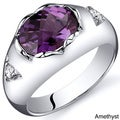 Oravo Sterling Silver Oval-cut Gemstone and Cubic Zirconia Ring