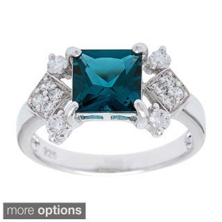 Oravo Sterling Silver Square Gemstone and Cubic Zirconia Ring