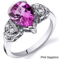 Oravo Sterling Silver Pear Gemstone and Cubic Zirconia Ring