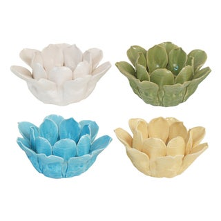 4-piece Assorted Color Flower Votive Holder Set
