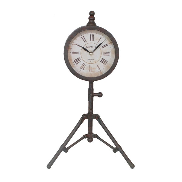 Rustic Black Metal Clock with Tripod Stand