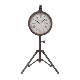 Rustic Black Metal Clock with Tripod Stand