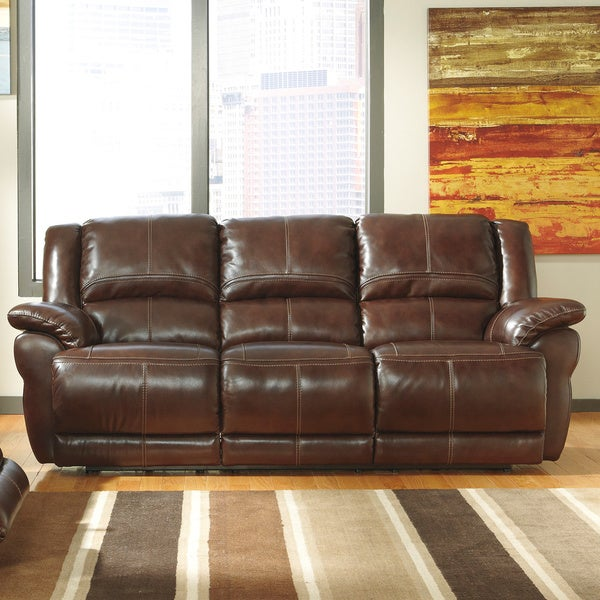 Signature Designs By Ashley Lenoris Coffee Reclining Sofa 16323256 Shopping