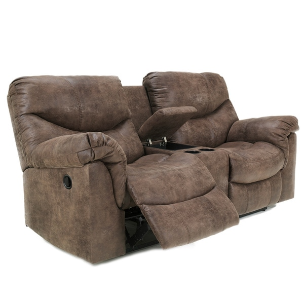 Signature Design By Ashley Alzena Gunsmoke Double Recliner Loveseat With Console 16323274