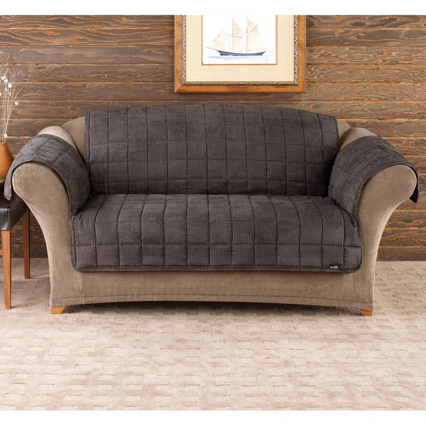 Sure Fit Deluxe Pet Mini Check Loveseat Cover 16323377