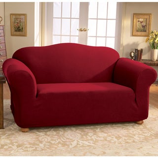 Sure Fit Stretch Wine Honeycomb Loveseat Slipcover