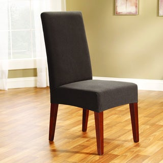 Sure Fit Chocolate Chip Stretch Honeycomb Short Dining Chair Cover