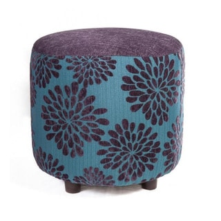 Michelle 19-inch Blue/ Purple Flower Ottoman