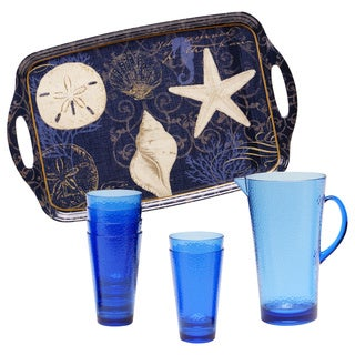 Certified International Coastal Moonlight Serving Tray, Glass and Pitcher Set