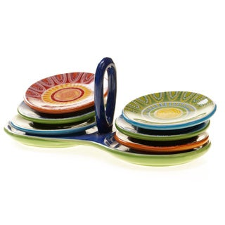 Certified International Tapas Dipping Plate Set with Ceramic Stand