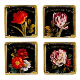 Certified International Garden View Hand-painted Ceramic Plate Set (Set of 4)