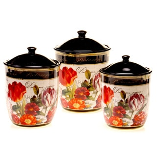 Garden View 3-piece Lead-free Ceramic Canister Set