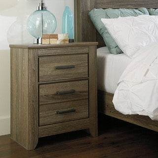 Signature Design by Ashley Zelen Two Drawer Grey Night Stand