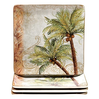 Hand-painted Key West 10.5-inch Ceramic Dinner Plate (Set of 4)