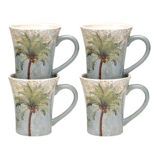 Hand-painted Key West 14-ounce Ceramic Mugs (Set of 4)
