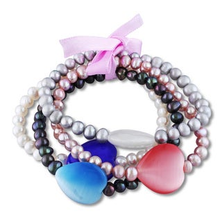 M by Miadora Multi-color Cultured Freshwater Pearl and Multi-stone Heart Bracelets (Set of 4) (5-5.5 mm)