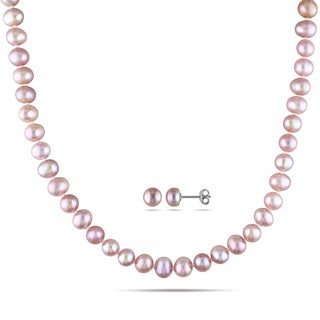 Miadora Sterling Silver 2-Piece Set of Pink Pearl Necklace and Earrings