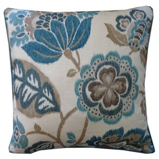 Jiti Summer Teal Floral 20x20-inch Pillow