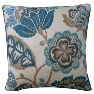 Summer Teal Floral 20x20-inch Pillow