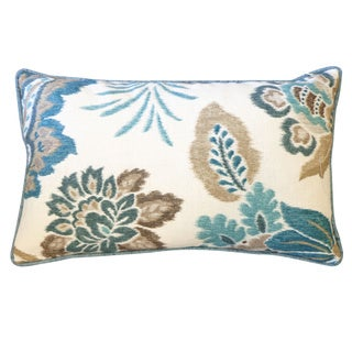 Summer Teal Floral 12x20-inch Pillow