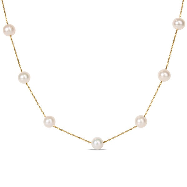 Miadora 10k Yellow Gold Freshwater Pearl Tin Cup Necklace 13166475