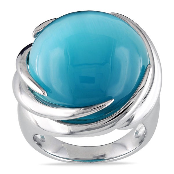 Miadora Sterling Silver Simulated Blue-Green Cat's Eye Ring