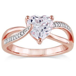 Miadora Rose Plated Silver Created White Sapphire and Diamond Heart Ring