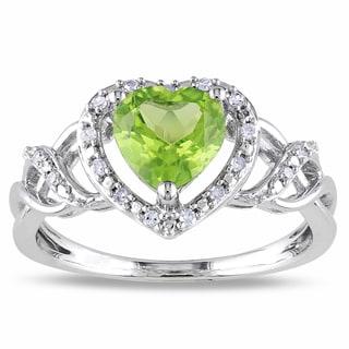 Miadora Silver Peridot and 1/10ct TDW Diamond Heart Ring (H-I, I2-I3)