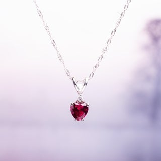 Miadora 10k White Gold Created Ruby and Diamond Heart Necklace