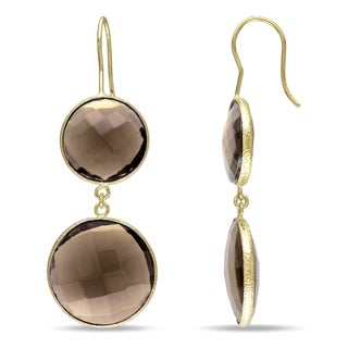 M by Miadora Yellow Plated Goldtone Synthetic Smokey Quartz Dangle Earrings