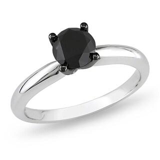 Miadora 10k White Gold 1ct TDW Black Diamond Solitaire Ring
