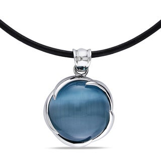 Miadora Sterling Silver Simulated Blue-Green Cat's Eye Necklace
