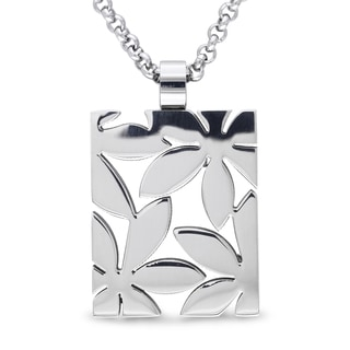 M by Miadora Stainless Steel Rectangular Flower Necklace