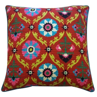 Frieda Red Floral 20x20-inch Pillow