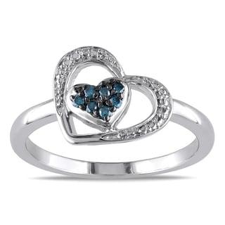 Haylee Jewels Sterling Silver Blue Diamond Heart Ring